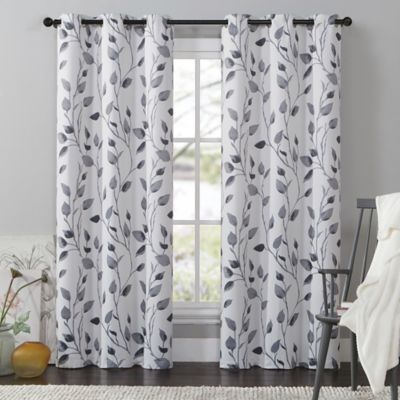 VCNY Leaf 108-Inch Window Curtain Panel in Black