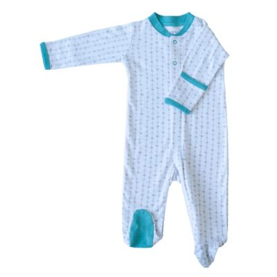 Zippyz™ Size 3-6M Arrows Zippered Footed Pajama in Teal