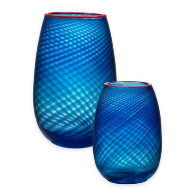 Kosta Boda Small Red Rim Vase
