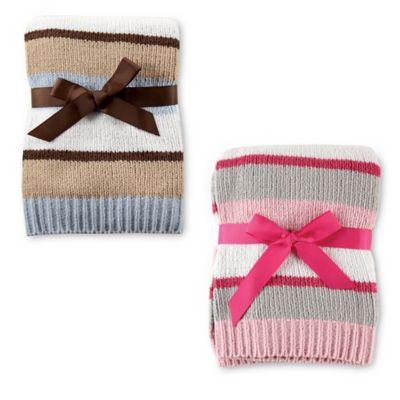 BabyVision® Hudson Baby® Chenille Stripe Blanket in Blue