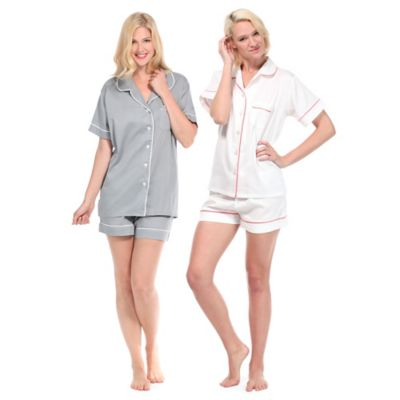 Extra-Large Women's Sateen Summer 2-Piece Pajama Short Set in White/Pink