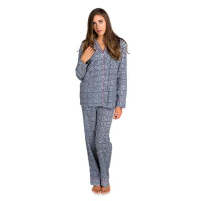 Greek Key Small Women's 2-Piece Pajama Pant Set in Navy