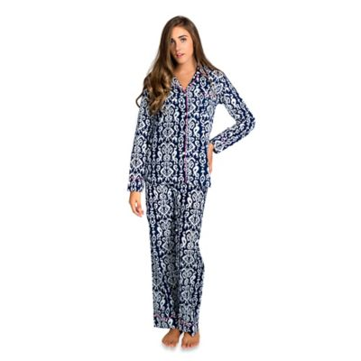 Ikat Small Women's 2-Piece Pajama Pant Set in Navy