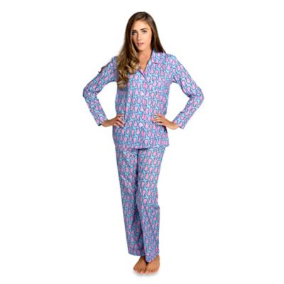 Persian Paisley Small Women's 2-Piece Pajama Pant Set in Blue