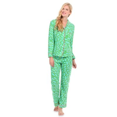 Annabelle Extra-Small Women's Knit 2-Piece Pajama Pant Set in Aqua