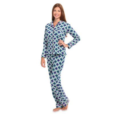 Savannah Extra-Small Women's Knit 2-Piece Pajama Pant Set in Navy
