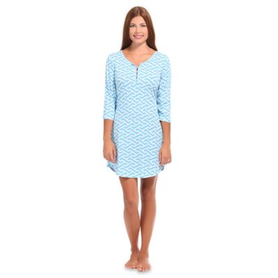 Molly Extra-Small Women's Knit Henley Lounge Dress in Blue