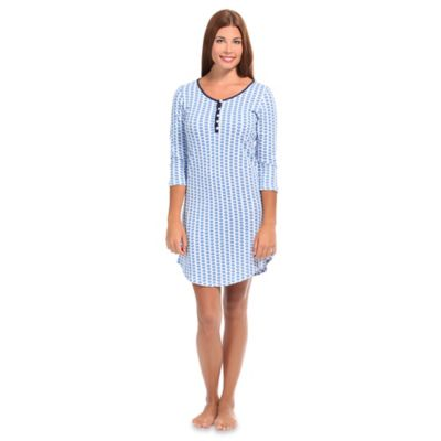 Maisie Extra-Small Women's Knit Henley Lounge Dress in Blue