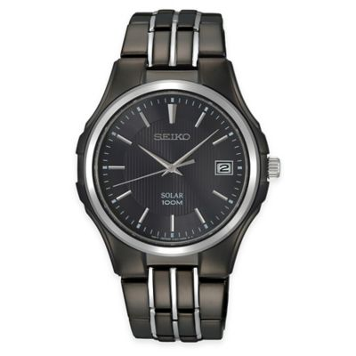 Seiko Men's Solar Dress Bracelet Watch in Black Ion-Plated Stainless Steel