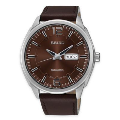 Seiko Men's Recraft Automatic Watch in Stainless Steel with Brown Leather Strap