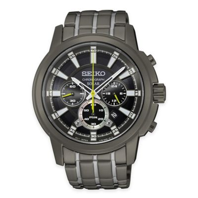 Seiko Men's Solar Chronograph Watch in Black Ion-Plated Stainless Steel