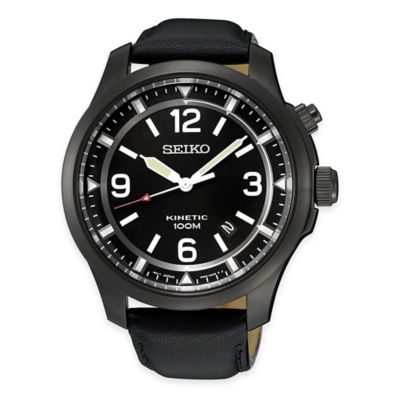 Seiko Men's Kinetic Watch in Black Ion-Plated Stainless Steel with Leather Strap