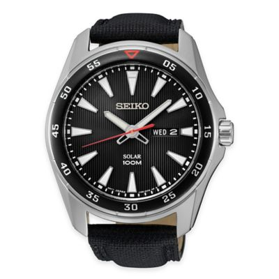 Seiko Men's Solar Calendar Watch in Stainless Steel with Black Leather Strap