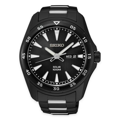Seiko Men's Solar Calendar Bracelet Watch in Black Ion-Plated Stainless Steel
