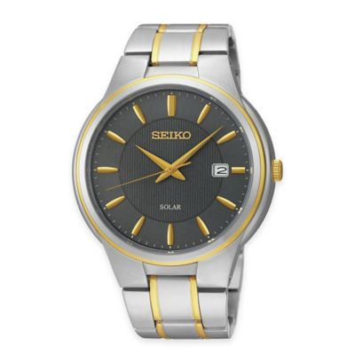 Seiko Men's Solar 41.5mm Watch in Two-Tone Stainless Steel with Grey Dial