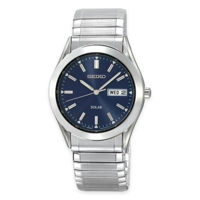 Seiko Men's Solar Dress Expansion Band Watch in Stainless Steel with Blue Dial