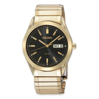 Seiko Men's Solar Dress Expansion Band Watch in Goldtone Stainless Steel with Black Dial