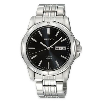 Seiko Men's Solar Calendar Watch in Stainless Steel with Black Dial