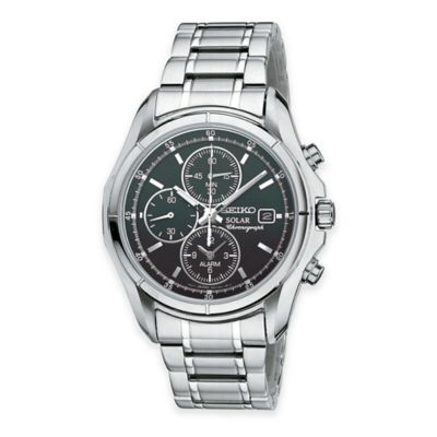 Seiko Men's 40mm Solar Alarm Chronograph Watch in Stainless Steel