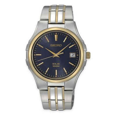 Seiko Men's Solar 39mm Watch in Two-Tone Stainless Steel with Blue Dial