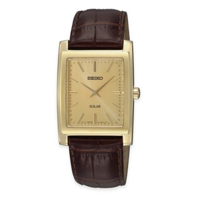 Seiko Men's Solar Rectangular Watch with Brown Leather Strap and Champagne Dial