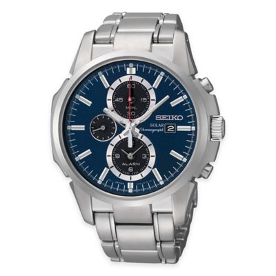 Seiko Men's Solar 42mm Alarm Chronograph Watch in Stainless Steel with Blue Dial