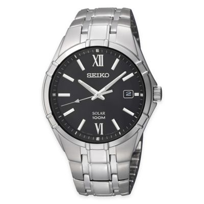 Seiko Men's 38mm Watch in Stainless Steel with Black Dial