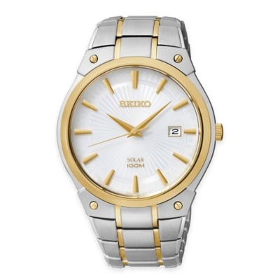 Seiko Men's Round Bracelet Watch in Two-Tone Stainless Steel with White Dial