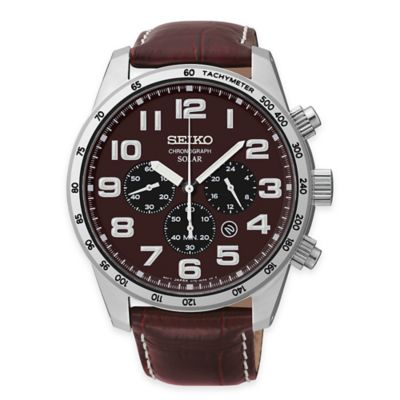 Seiko Men's Solar Chronograph Watch in Stainless Steel with Brown Leather Strap