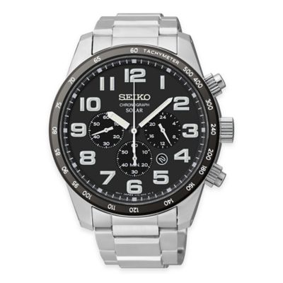 Seiko Men's Solar Chronograph Bracelet Watch in Stainless Steel with Black and White Dial