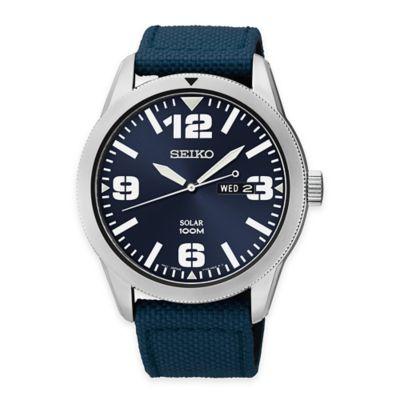 Seiko Men's Solar Watch in Stainless Steel with Blue Dial and Blue Webbed Nylon Strap