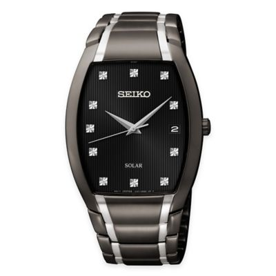 Seiko Men's Diamond Dial Tonneau Watch in Two-Tone Black Ion-Plated Stainless Steel