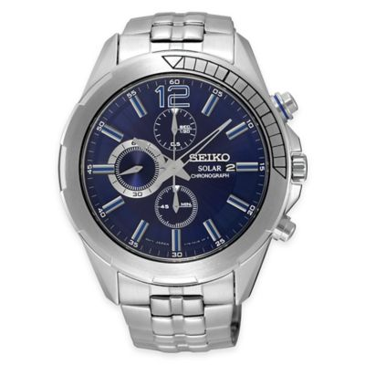 Seiko Recraft Series Men's 43.5mm Solar Chronograph Watch in Stainless Steel with Blue Dial