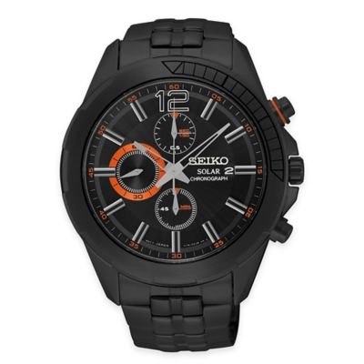 Seiko Recraft Series Men's 43.5mm Solar Chronograph Watch in Black-Ion Finished Stainless Steel
