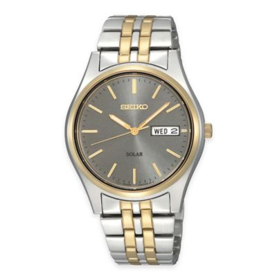 Seiko Men's 37mm Solar Watch in Two-Tone Stainless Steel with Charcoal Dial