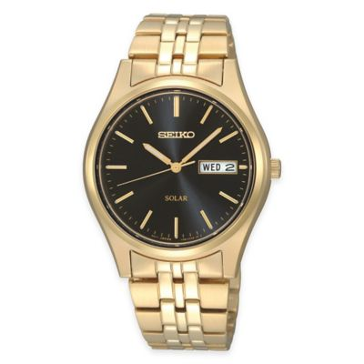Seiko Men's 37mm Solar Watch in Gold-Tone Stainless Steel with Black Dial