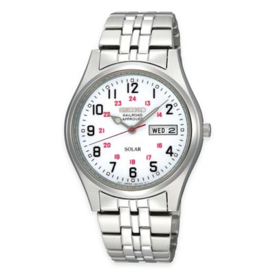 "Seiko Men's 37mm Solar ""Railroad Approved Watch"" in Stainless Steel with White Dial"