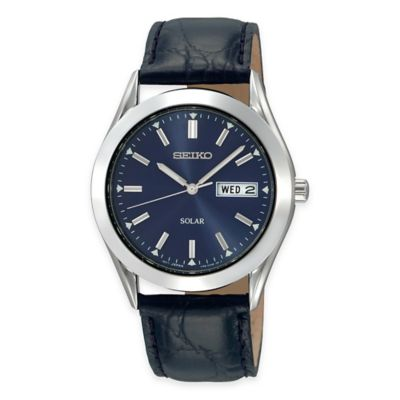 Seiko Men's 37mm Solar Watch in Stainless Steel with Blue Dial and Black Leather Strap
