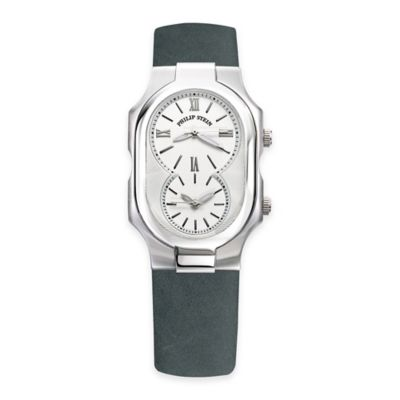 Philip Stein Men's Signature Watch in Stainless Steel with Forest Green Strap