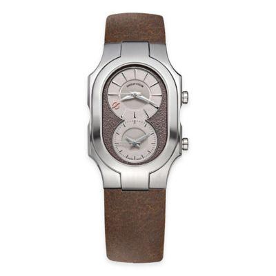 Philip Stein Men's Rectangular 8-Shape Watch in Stainless Steel with Brown Strap