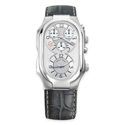Philip Stein Men's Rectangular 8-Shape Watch in Stainless Steel with Grey Stitched Strap