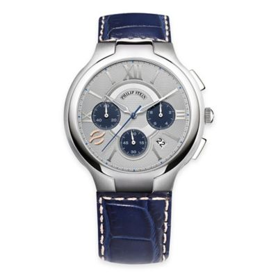 Philip Stein Men's 45mm Round Chronograph Watch in Stainless Steel with Blue Strap