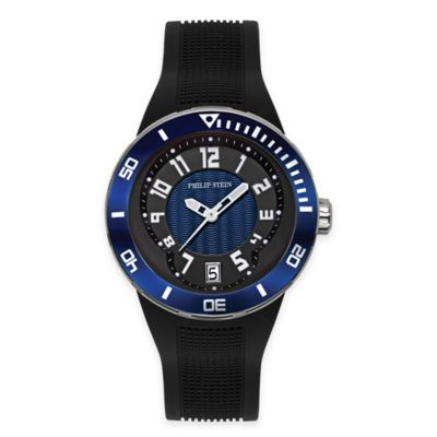 Philip Stein Men's 46mm Active Extreme Watch in Black Stainless Steel with Blue Bezel