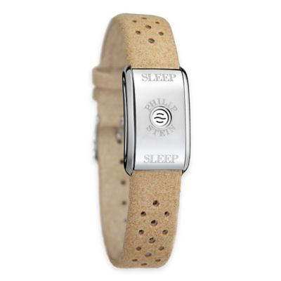 Philip Stein Unisex Sleep Bracelet in Stainless Steel with Camel Micro Fiber Band