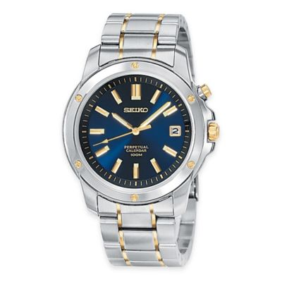 Seiko Men's 39mm Perpetual Calendar Watch in Two-Tone Stainless Steel with Blue Dial