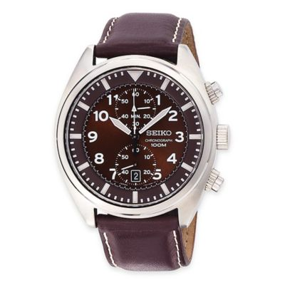 Seiko Men's 43mm Chronograph Watch in Stainless Steel with Brown Leather Strap