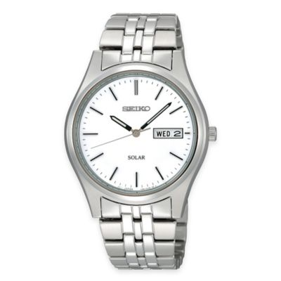 Seiko Men's Solar Dress Watch in Stainless Steel with White Dial