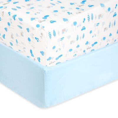 Sleeping Partners Tadpoles Microfiber Transportation Print Fitted Crib Sheets in Blue (Set of 2)
