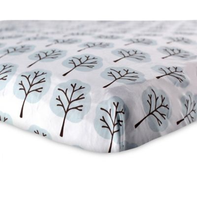 BabyVision® Luvable Friends® Woven Cotton Tree Fitted Crib Sheet in Blue