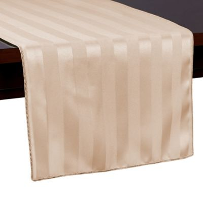 Poly Stripe 54-Inch Table Runner in Brown